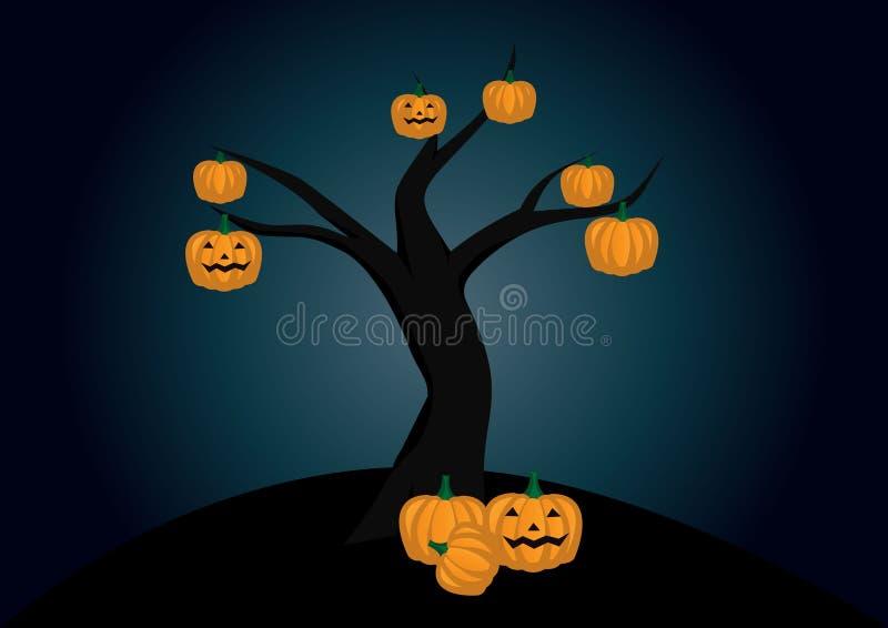 Calabazas de Halloween y árbol fantasmagórico stock de ilustración