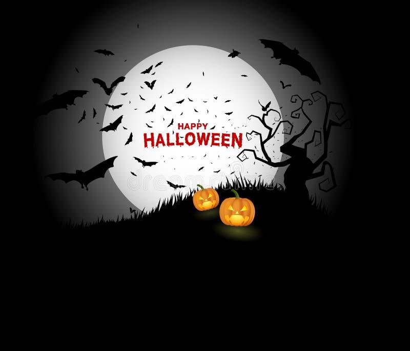 Calabazas de Halloween y castillo oscuro en el fondo negro de la luna, ejemplo, texto rojo sangriento de Halloween libre illustration