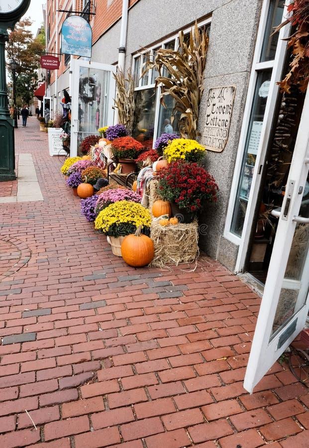 Calabazas de Halloween y flores estacionales en una orilla en Salem, mA, los E.E.U.U. imagenes de archivo
