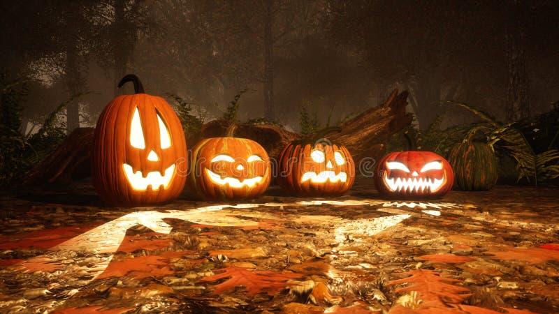 calabazas de la Jack-o-linterna en bosque brumoso del otoño libre illustration