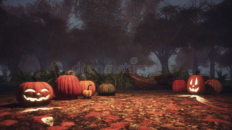 calabazas de la Jack-o-linterna en bosque brumoso en la oscuridad stock de ilustración