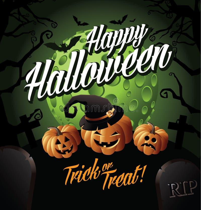 Calabazas del feliz Halloween debajo de una luna verde stock de ilustración