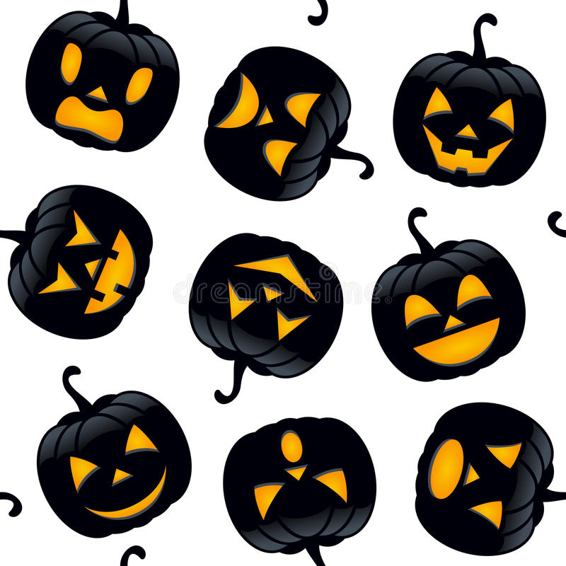 Calabazas del negro de Halloween inconsútiles ilustración del vector