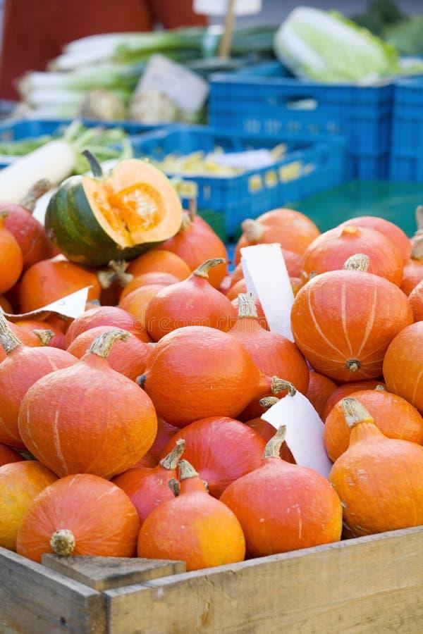Calabazas frescas en un mercado del ` s del granjero fotografía de archivo