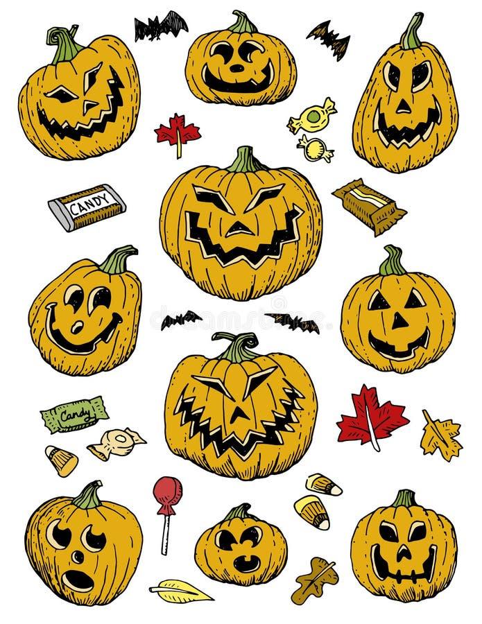 Calabazas a mano y caramelo de Halloween libre illustration