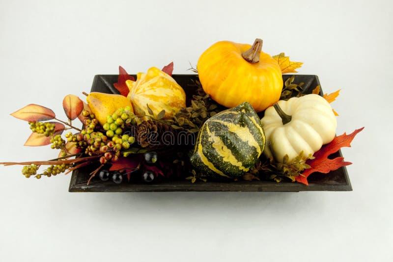 Calabazas y hojas de otoño imagen de archivo
