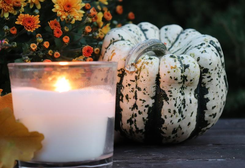 Calabazas y velas decorativas de Halloween Concepto del otoño imagen de archivo