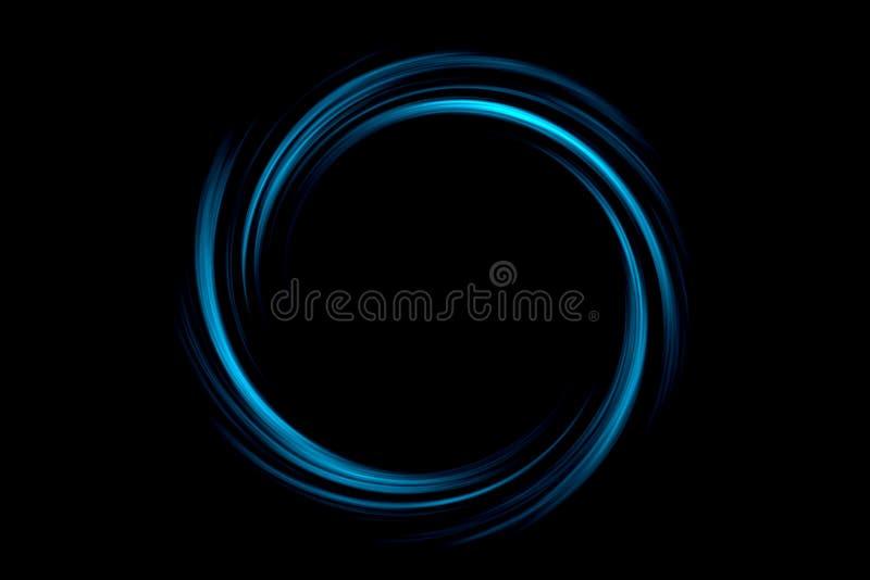 Calabozo abstracto con el círculo azul claro en fondo negro stock de ilustración