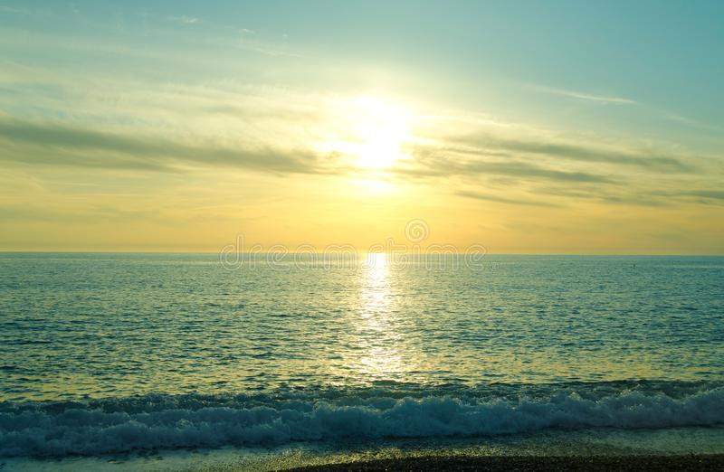 Beautiful sunset over the Tyrrhenian Sea, Calabria, Italy royalty free stock photography