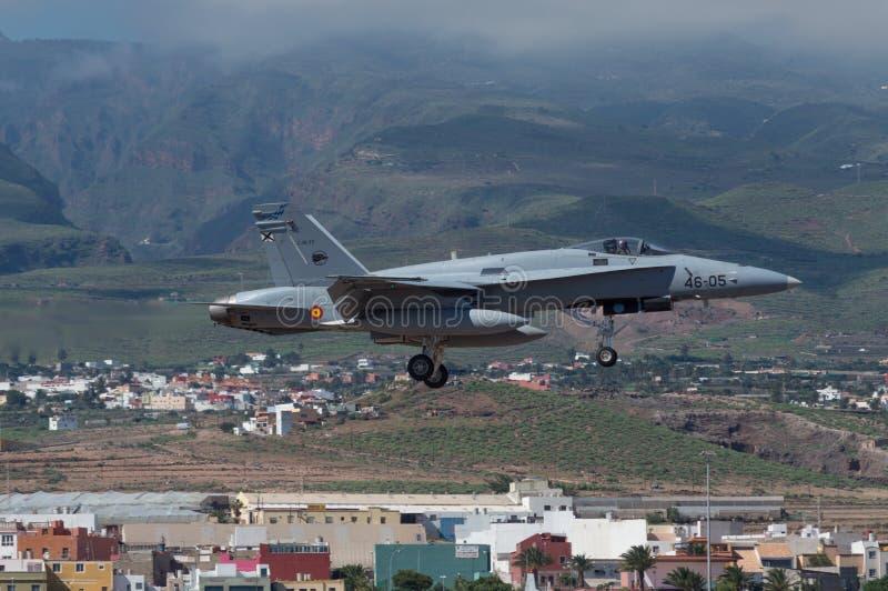 Calabrone spagnolo dell'aeronautica F-18 immagini stock libere da diritti