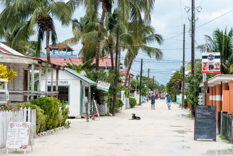 CALAFATO DI CAYE, BELIZE - 19 NOVEMBRE 2017: Isola del calafato di Caye in mar dei Caraibi Sandy Street con architettura locale e immagine stock