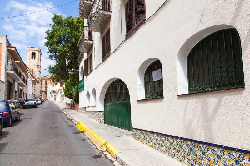 Street view of old town of Calafell, Spain. Calafell, Spain - August 17, 2014: Street view of old town of Calafell. Tarragona region, Catalonia, Spain stock image