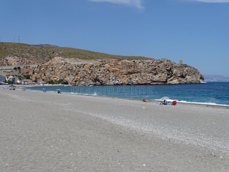 Calahonda海滩在格拉纳达安大路西亚西班牙 免版税库存照片