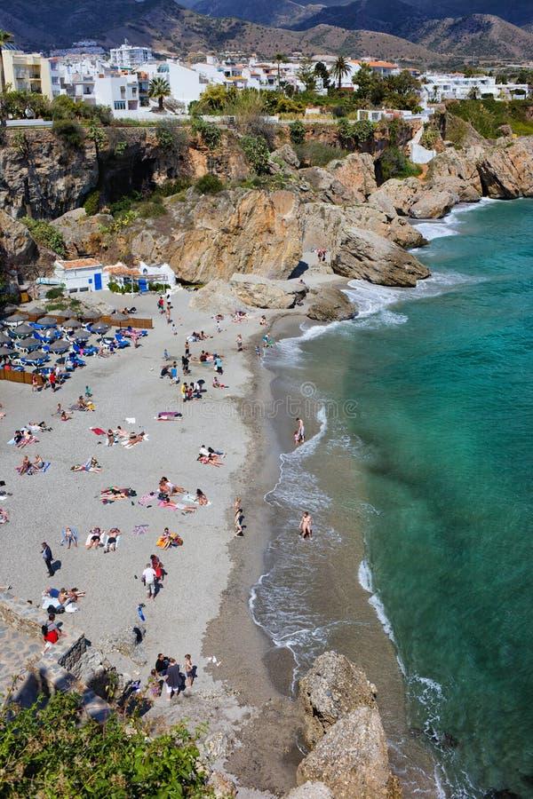 Calahonda Beach in Nerja Town in Spain stock images