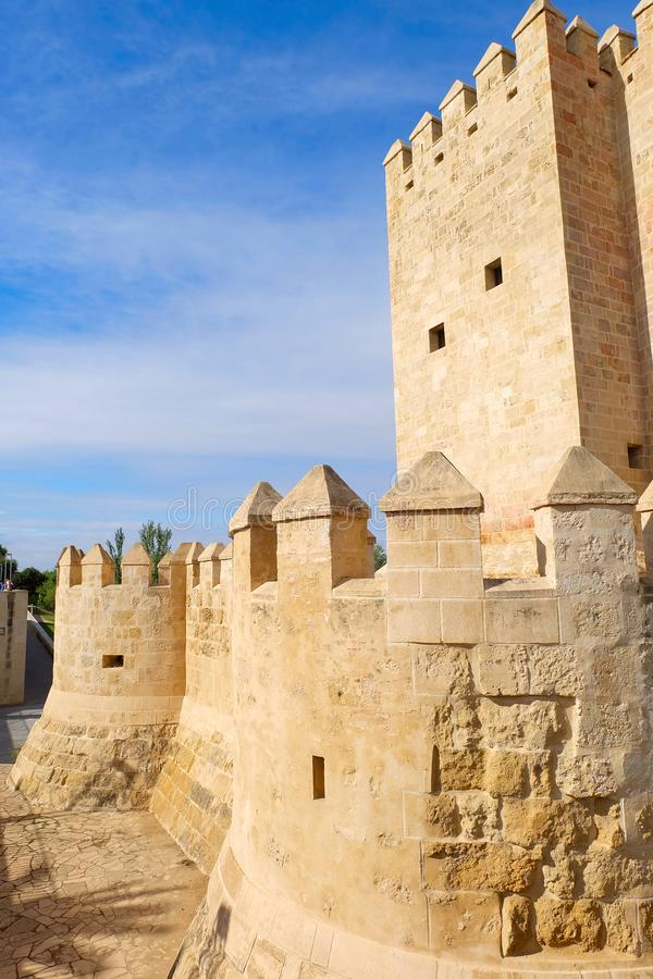 Calahorra Tower in Cordoba. Calahorra Tower near by Roman bridge crossing Guadalquivir river, Cordoba city, Andalusia region, Spain stock photos