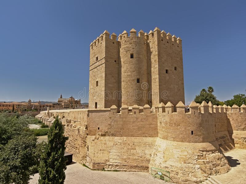 Calahorra tower, fortified gate in the historic centre of Cordoba royalty free stock photography