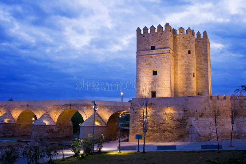 Calahorra Tower and Roman Bridge in Cordoba royalty free stock photo