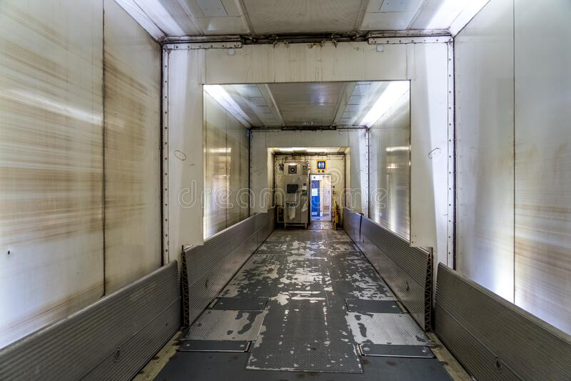 Calais, France - Inside the Eurotunnel train joining France and United Kingdom.  stock images