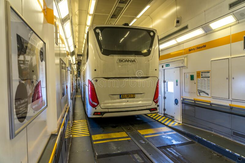 Calais, France - Inside the Eurotunnel train joining France and United Kingdom.  stock photo