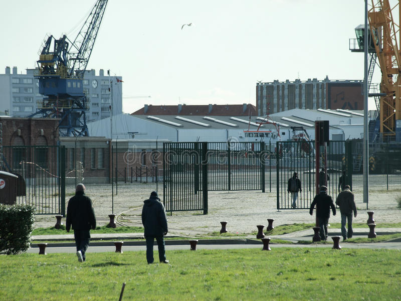 Calais Refugees stock image