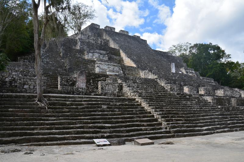 Calakmul Archaeological Site in Campeche Mexico. The beautiful and lost maya city of Calakmul hidden in the jungle of southern Mexico in the province of Campeche royalty free stock photos