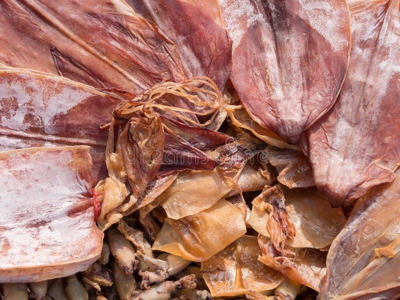 Calamar de sequía de Sun en el mercado de la comida de la calle imagenes de archivo