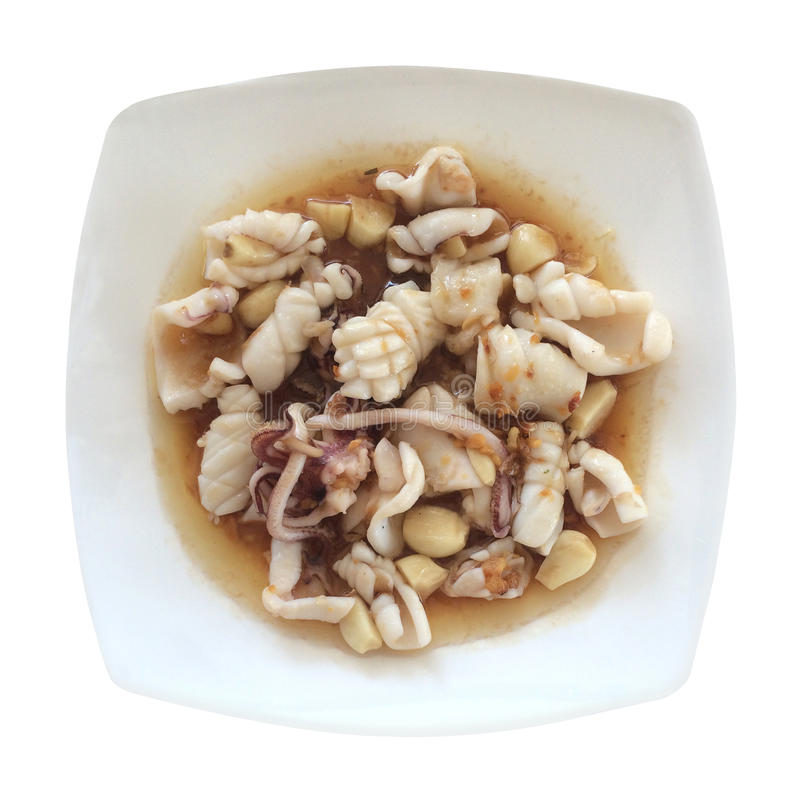 Calamar frito con pimienta del ajo fotografía de archivo