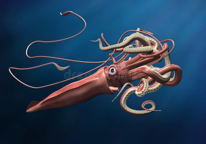 Calamar gigante ilustração do vetor