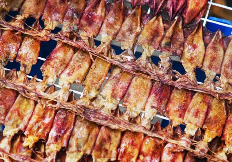 Calamar secado para preservar o alimento, vendendo imagens de stock royalty free
