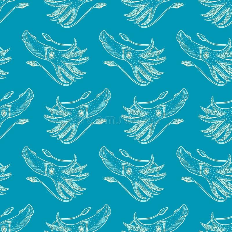 Calamares inconsútiles del azul del bosquejo ilustración del vector