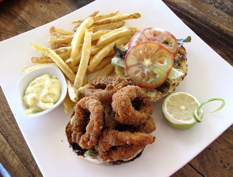 calamari бургера стоковое изображение