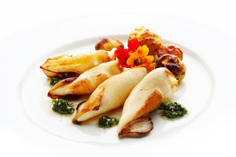 calamari piec na grillu fotografia stock