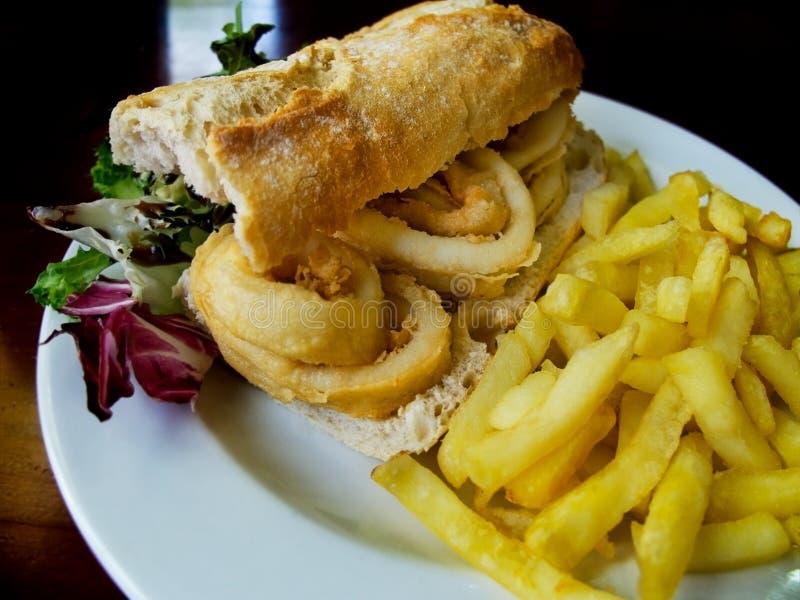 Calamari sandwich. royalty free stock photo