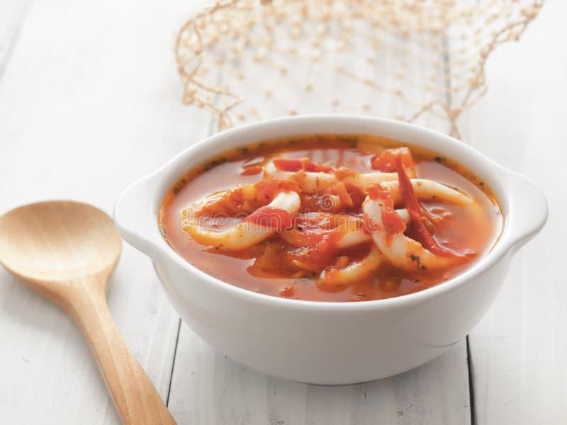 Calamari seafood soup royalty free stock photo
