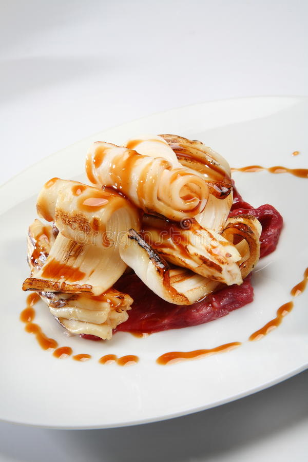 Calamaro dell'alimento gastronomico fotografia stock