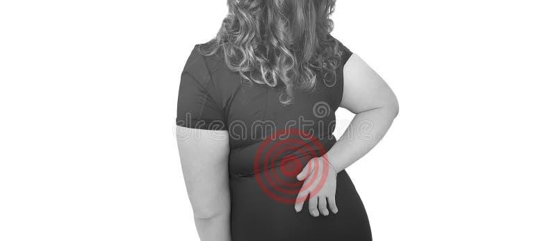 Calambre dolorido del problema del músculo trasero del malestar de la mujer imagenes de archivo
