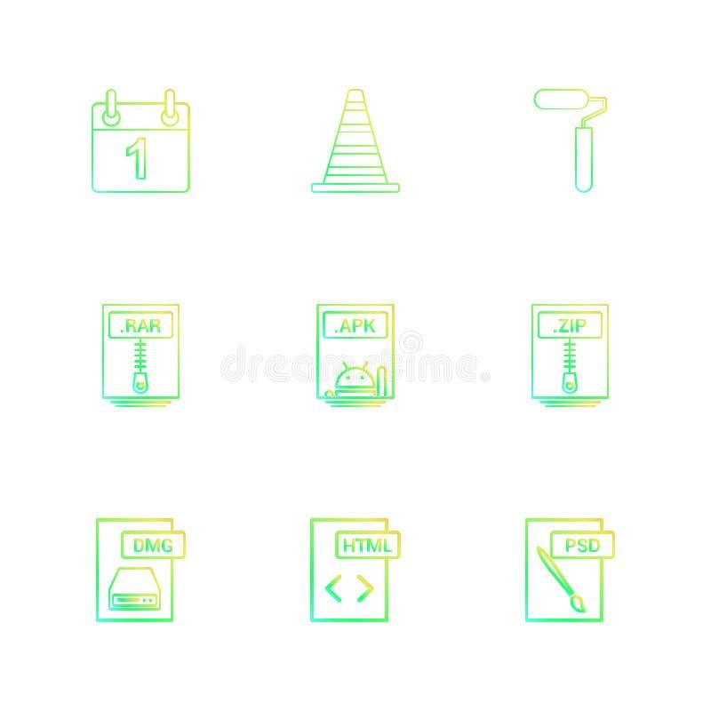 Calaneder , cone , paint roller , zip compressed file , apk android file , rar compressed file ,psd , html , dmg apple file , 9 e. Calaneder , cone , paint royalty free illustration