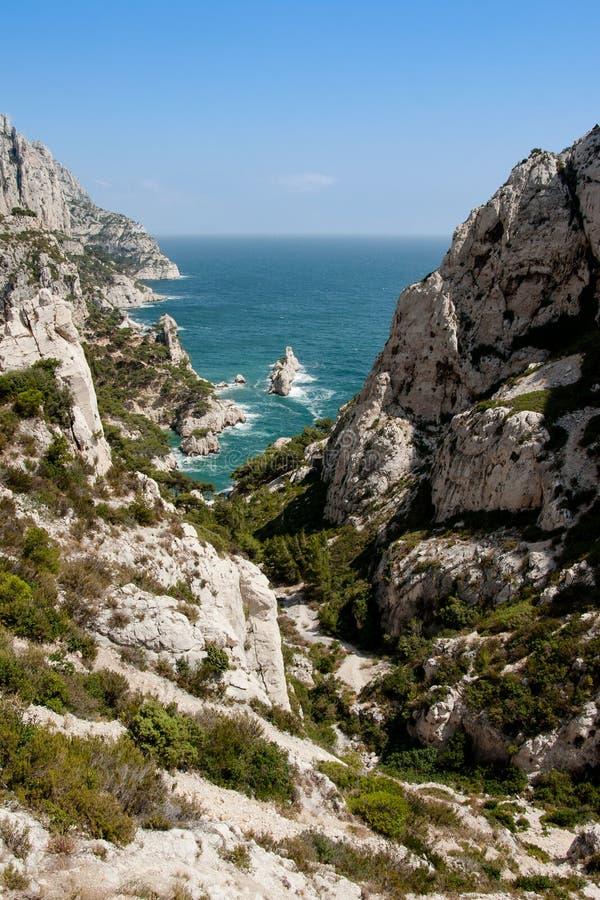 Calanque de Sugiton in Marseille stockfotos