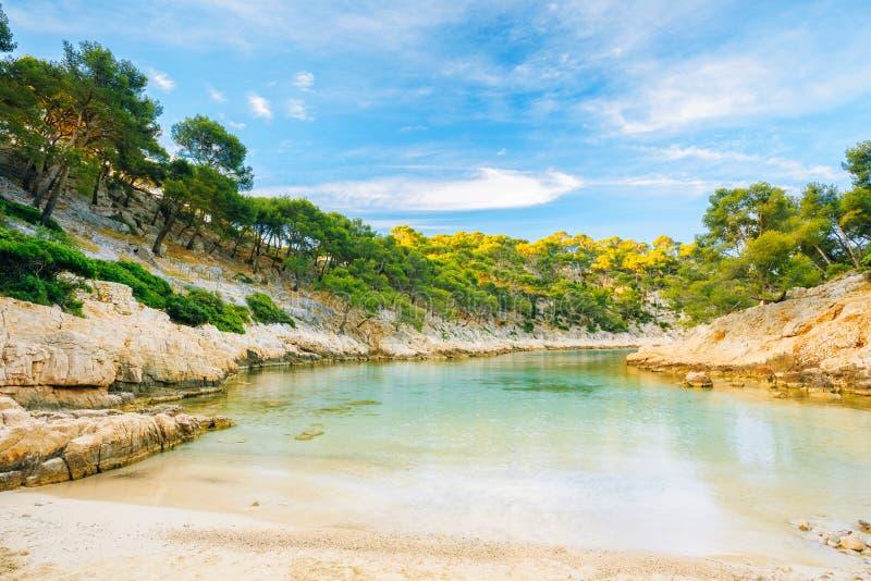 Calanques的美好的本质在天蓝色的海岸的 库存图片