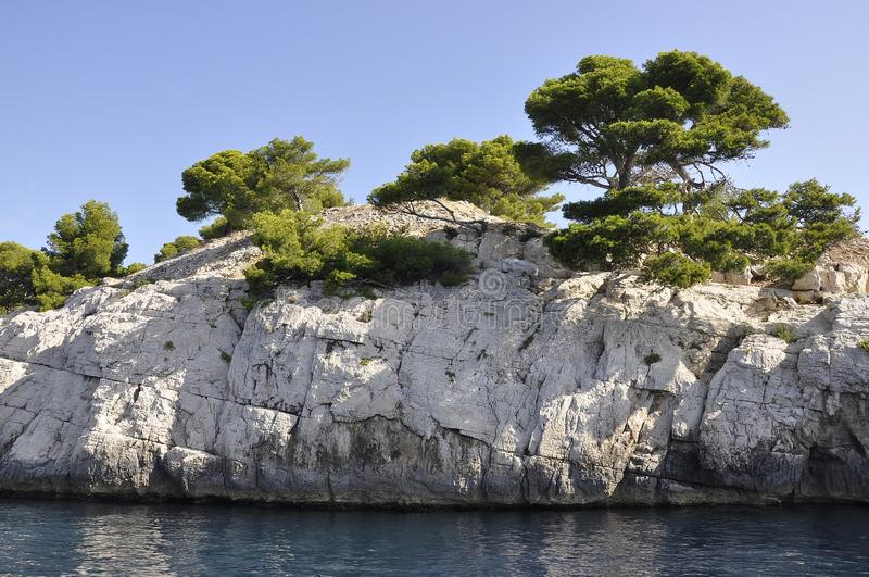 Cassis, 8th september: Calanques National Park Cliff from the Bay area of Cassis on Cote D`Azur France. Calanques National Park Cliff from the Bay area of Cassis royalty free stock photography