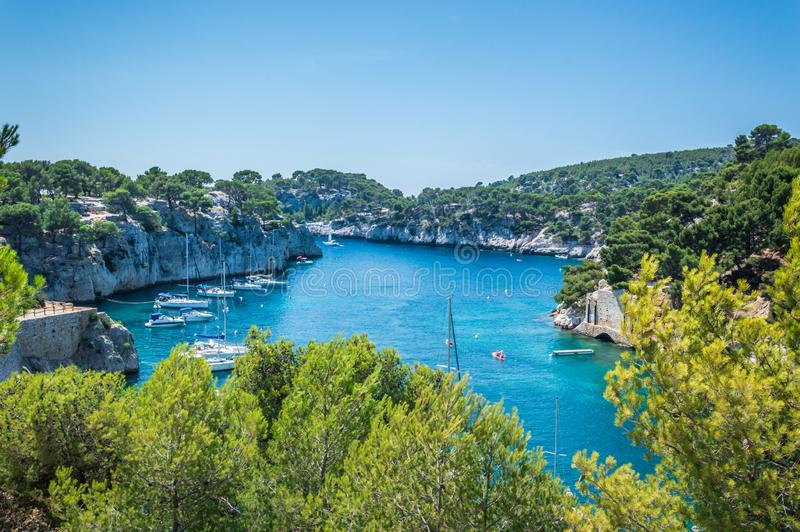 Calanques near Cassis in a summer day. Cote d`Azur French Riviera is situated in the southern eastern part of the mediterranean coast of France and it is famous stock photo
