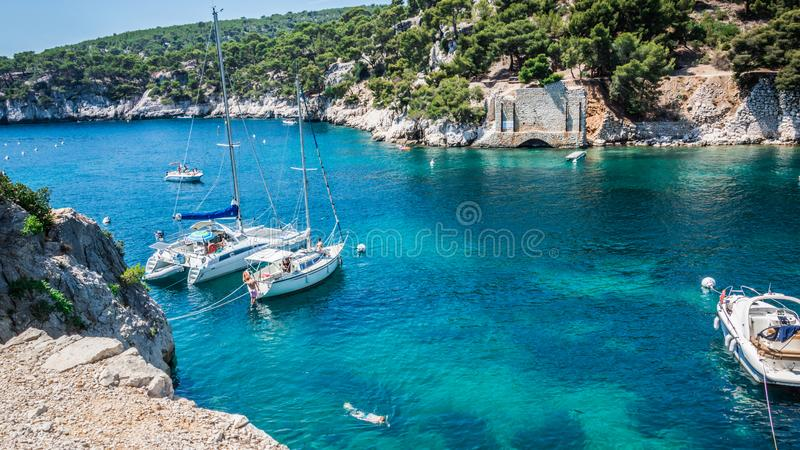 Calanques near Cassis in a summer day. Cote d`Azur French Riviera is situated in the southern eastern part of the mediterranean coast of France and it is famous stock photos