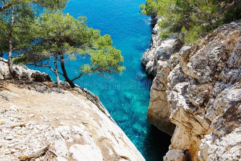 Calanques port szpilka w Cassis, Provence, Francja obraz royalty free