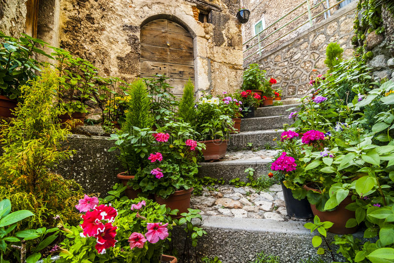 Calascio (Abruzzi). Calascio (L'Aquila, Abruzzi, Italy) - Houses with plants and flowers in the old village stock image