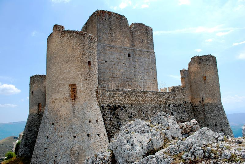Calascio Fortress on the Apennines. A famous castle at 1476 meters of altitude, in the middle of the Apennines (Gran Sasso d'Italia - Campo Imperatore stock images