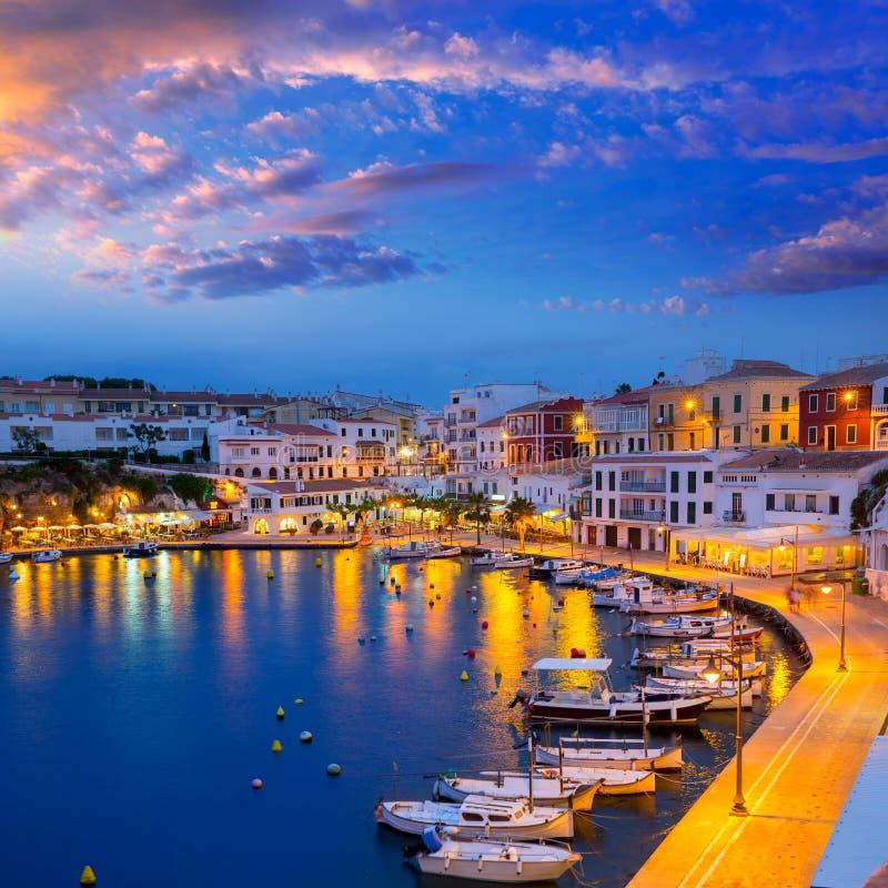 Calasfonts Cales Fonts Port sunset in Mahon at Balearics stock image