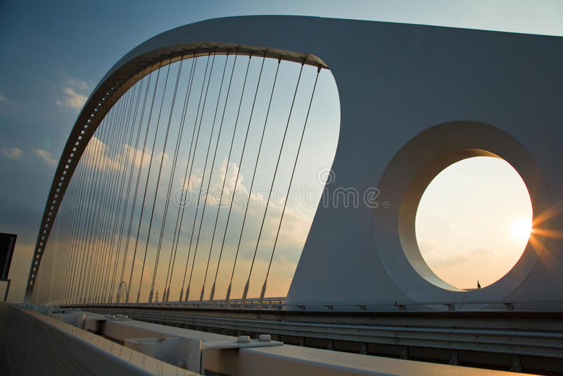 Calatrava Bridge. Caltrava bridge on sunset light royalty free stock images