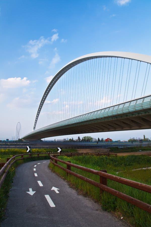 Calatrava Bridge. Over a bicycle path stock photography