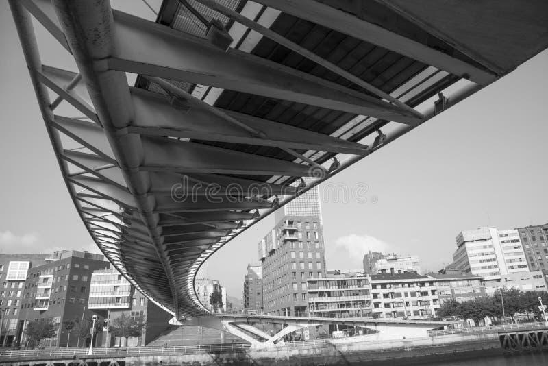 Calatrava bridge. Bilbao, Spain, July 6, 2016: pedestrian bridge built by Calatrava, underneath view stock image