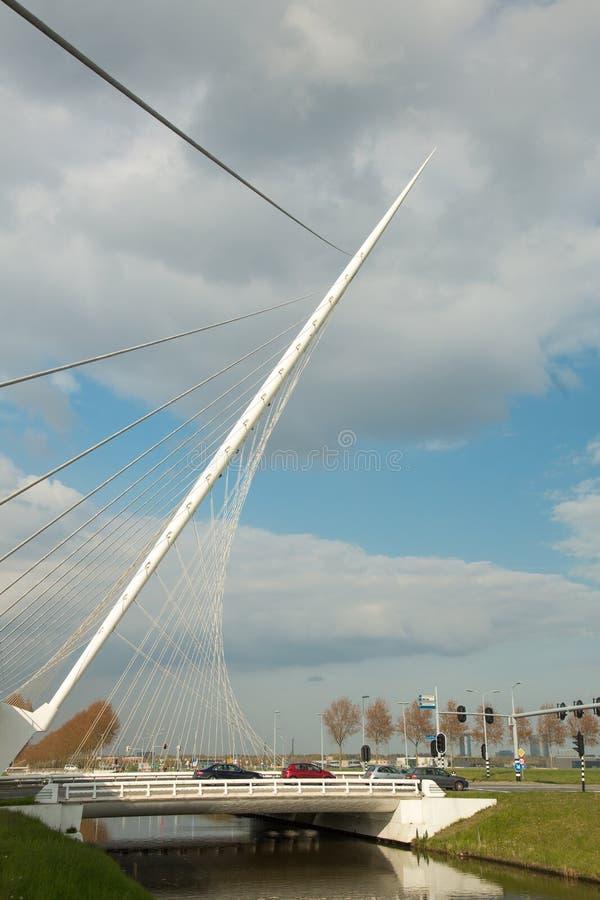 Calatrava Bridge Cither, Holland. Haarlemmermeer, the Netherlands - May 04, 2016 - Calatrava Bridge Cither is one of three bridges in the Haarlemmermeer, the royalty free stock photography
